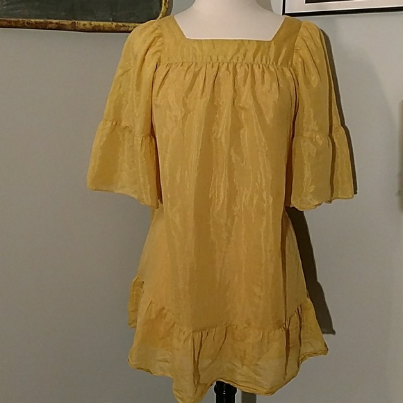 1d2153db5f  PIKO 1988  BOHO mustard yellow tunic dress